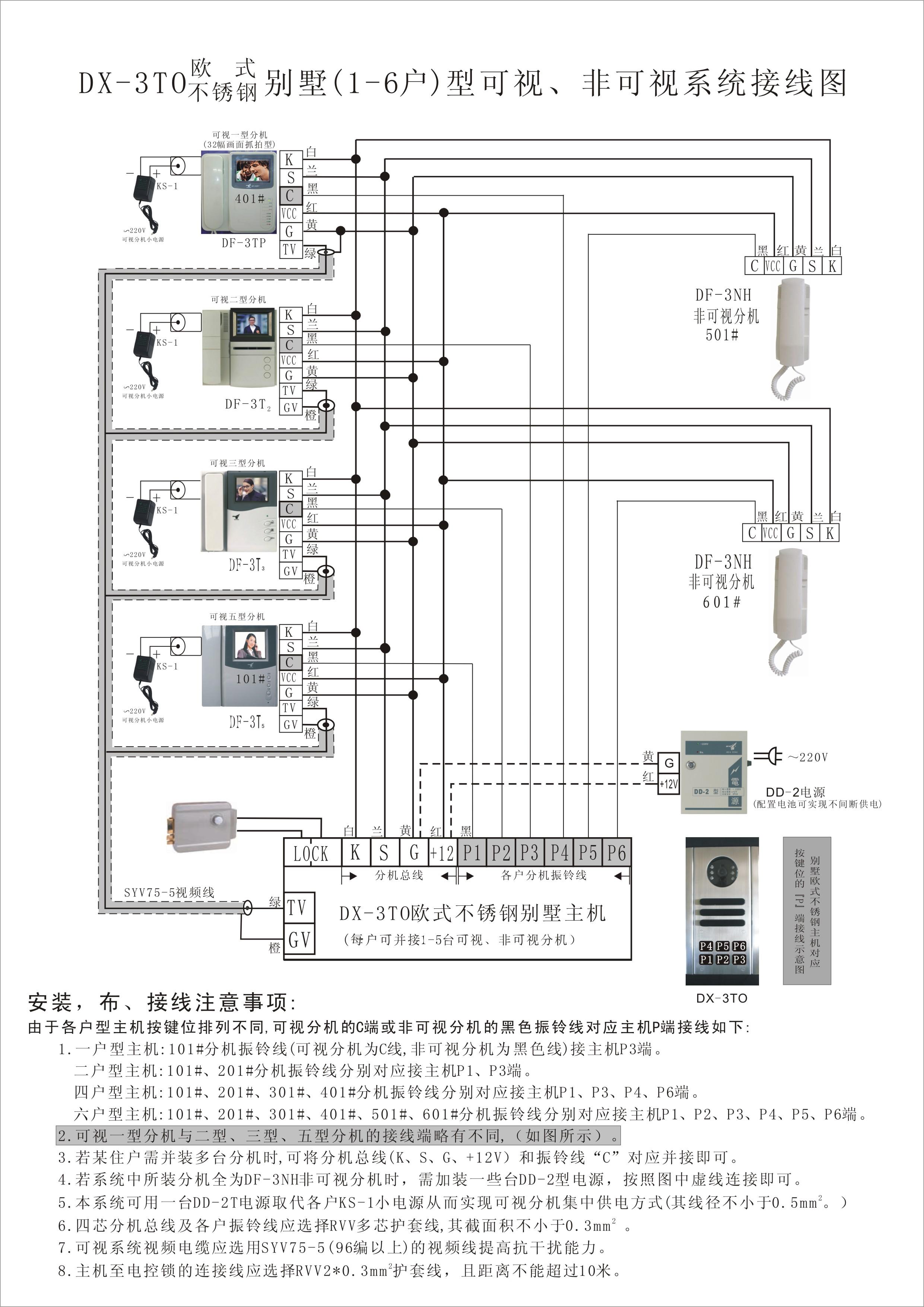 楼宇对讲无线接线图